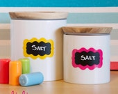 Color Pop Chalkboard Labels - 10 Small Scalloped Chalkboard Labels, Removable and Repositionable