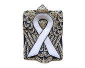 White Ribbon Awareness Tile Bead
