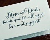 Wedding Card to Your Mom and Dad - Parents of the Bride or Groom Cards - Wedding Day Thank You for all Your Love & Support CS02