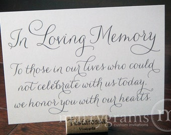 In Loving Memory Sign Table Card - Wedding Reception Seating Signage - Family Photo Table Sign - Matching Numbers Chalk Style Available SS01