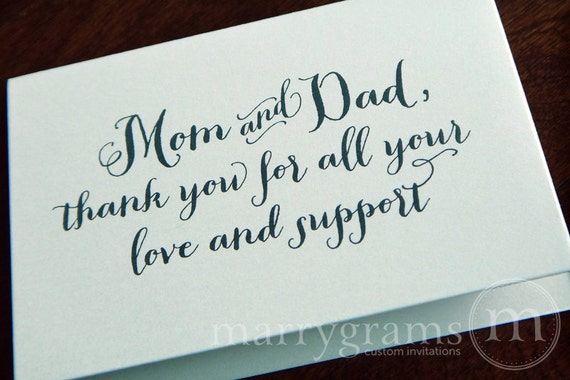 Thank You Gifts For Mom And Dad : Mom and DadParents of the Bride or Groom CardsWedding Day Thank ...