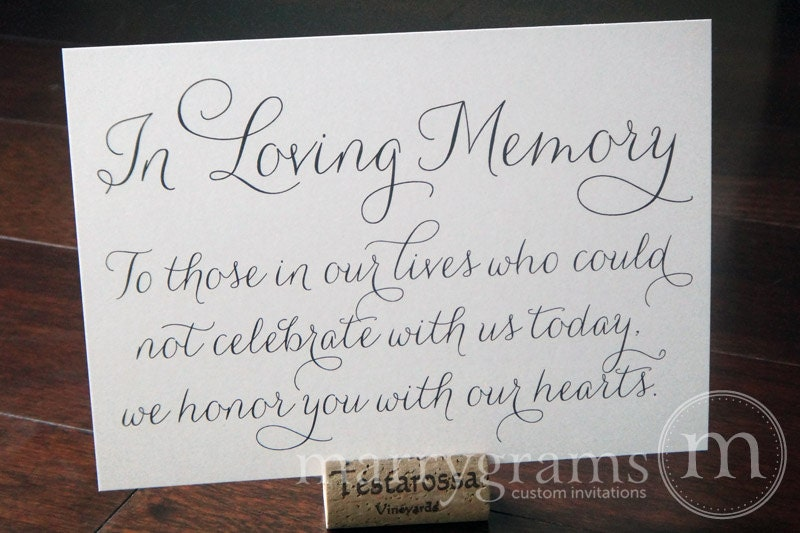 Memory Table Ideas in loving memory of those who are forever present in our hearts In Loving Memory Sign Table Card Wedding Reception Seating Signage Family Photo Table Sign