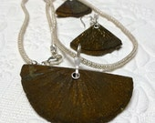 Pyrite Sun Protective Fire Necklace Earrings. Gemstone Jewelry. Handmade Jewelry. Metalwork. OOAK.