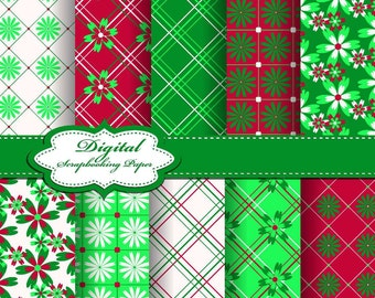 Cute Red, Green and White Christmas Digital Papers for scrapbooking, card making, Invites, photo cards (P159)