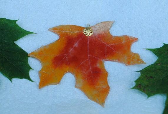 Upcycled Everlasting Autumn Scarlet Red and Orange Maple Leaf Stained Glass Windowhanging Suncatcher