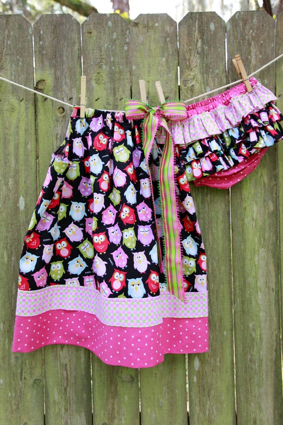 24 month Owl pillowcase dress with matching ruffled diaper cover