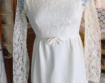 White  short wedding  Dress size 4-5 and matching jacket  union label