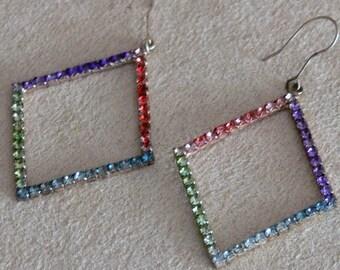 Hand painted rhinestone dangle hook  earrings