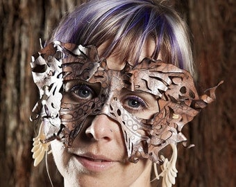 CUSTOM Made to Order | Fairy Moth Filigree Leather Mask | Faerie | Masquerade | Costume | Butterfly | Lightweight | Hand Sculpted | OSFA