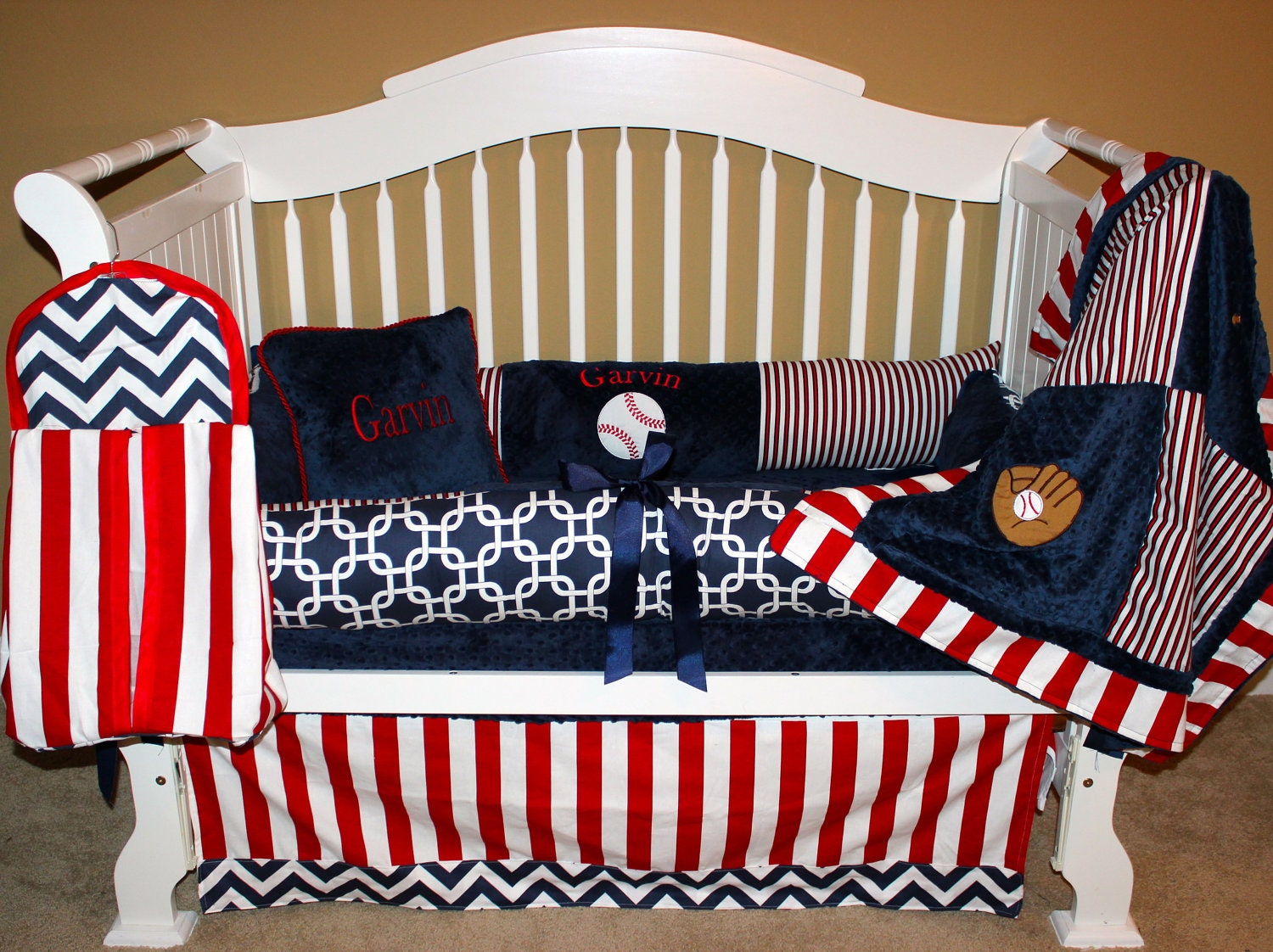 boys custom baby bedding 6 pc set take me out to the. Black Bedroom Furniture Sets. Home Design Ideas