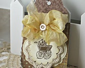 Shabby Chic Handmade Card Baby Buggy Tag - ONLY FOR SHERYL
