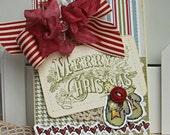 Shabby Chic Christmas Mittens handmade card