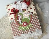 Shabby Chic Christmas December 25 Santa North Pole handmade card stamped