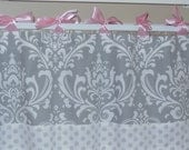Window Valance  Gray/White  Damask, pink satin ties