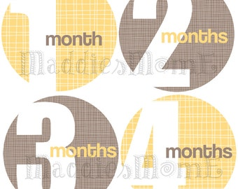 Monthly Baby Stickers Baby Month Stickers, Monthly Bodysuit Sticker, Monthly Stickers (Yellow Gray Gender Neutral)