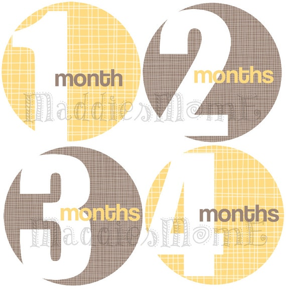 Monthly Baby Stickers Milestone Stickers, Baby Month Stickers, Monthly Bodysuit Sticker, Monthly Stickers (Yellow Gray Gender Neutral)