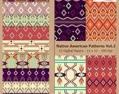 Digital Scrapbook Paper Pack - NATIVE AMERICAN PATTERNS Vol.2 - Pink and Purple - Instant Download