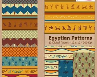 Digital Scrapbook Paper Pack - EGYPTIAN PATTERNS - Instant Download