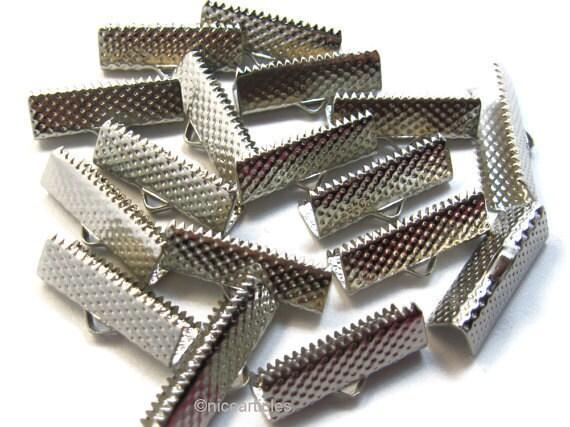Ribbon End  Fasteners Clasps silver tone 20 mm 50 pcs
