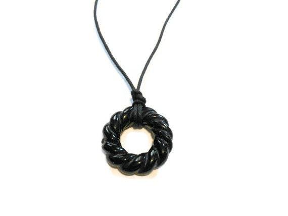Nursing Necklace and Teething Necklace, Natural Black Onyx Gemstone Nursing Necklace for Mom's