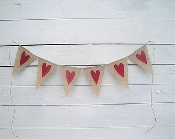 Burlap Banner with Red Glittered Hearts- Wedding garland- Valentines banner