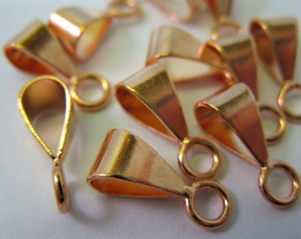 10 COPPER BAILS 14mm with Closed Rings, Ready to Ship!