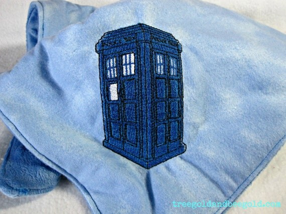Doctor Who Tardis Embroidered Geek Baby Security Blanket