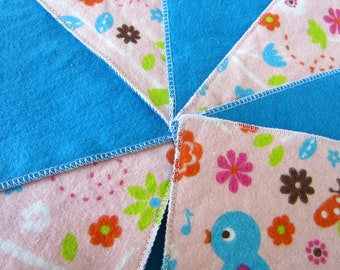 Diaper wipes/Flannel washcloths/ Cloth diaper Wipes for Baby, Birds, flowers, and butterflies (10)