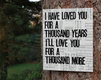 "16x20 ""A Thousand Years"" - Vintage music sheet canvas art"