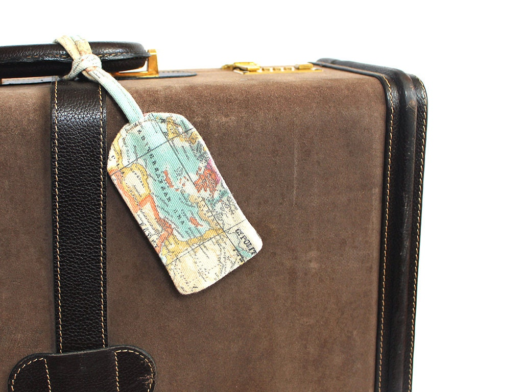 3 Personalized Vintage Map Fabric Luggage Tags Groomsmen