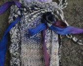 "Tarot Bag fantasy boho handspun OOAK ""Four or Swords"""