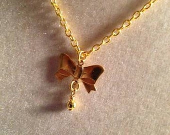 Children's Bow Necklace Flower Girl Jewellery Gold Jewelry  Pendant Drop Holiday Festive Wedding Fashion
