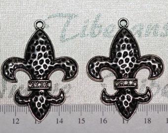 2 pcs per pack 34x48mm Large Fleur De Lis with Clear Rhinestones Pendant Antique Silver Finish Lead Free Pewter