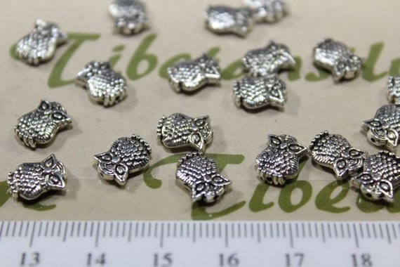 36 pcs per pack 9x6mm 2mm thickness Small Owl Beads Antique Silver Finish Lead Free Pewter