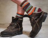 Striped mens adults socks green orange red - made to order