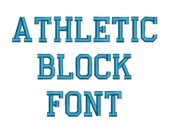 Athletic Block Machine Embroidery Font Monogram Alphabet - 3 Sizes
