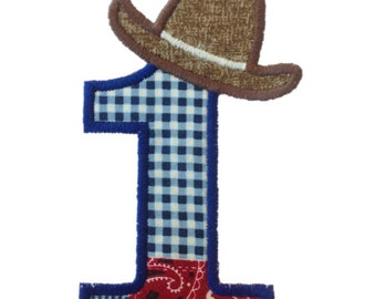 Cowboy Hat Applique Birthday Numbers Machine Embroidery Design - 4 Sizes