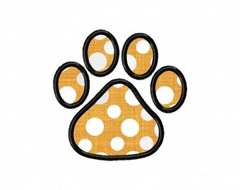 Applique Paw Print Machine Embroidery Design - 4 Sizes