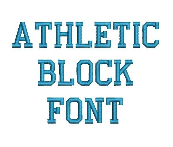 athletic block machine embroidery font monogram alphabet 3