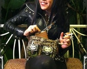 State Of Arousal Purse - artisan crafted VEGAN leopard handbag with bullets, razor blades, and biker studs