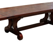 Lourdes Parquet Top Reclaimed Lumber Extension Trestle Dining Table