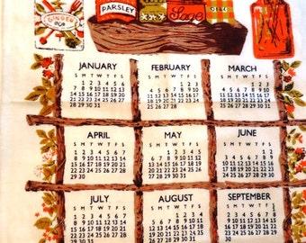 Vintage Linen Towel 1979 Linen Calendar Wall Hanging or Towel