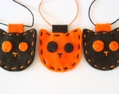 Halloween Decorations Felt Ornament Set Cats