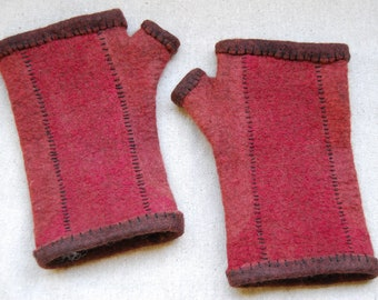 Nuno Felted Fingerless Red Wool Gloves