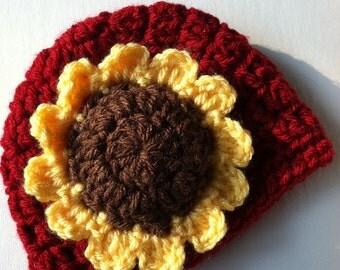 Crochet Hat with Flower, Cranberry Red Hat, Yellow Sunflower Hat, Halloween Hat, Newborn, Little Girl Hat, Child Hat, Autumn Hat, Halloween