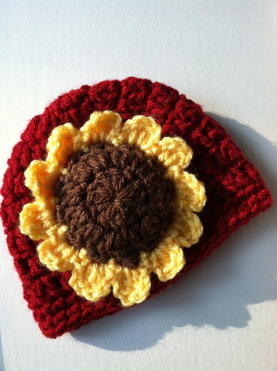 Crochet Hat with Flower, Cranberry Red Hat, Yellow Sunflower Hat, Halloween Hat, Newborn, Little Girl Hat, Child Hat, Autumn Hat, Halloween