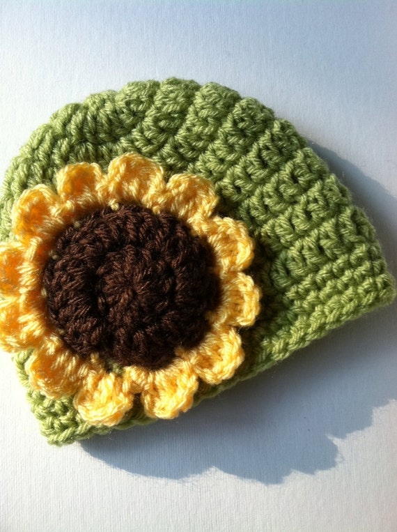 Sunflwer Baby Hat Crochet Hat with Flower Apple Green Hat