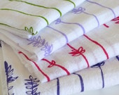 Flour Sack Dish Towel - Lavender Sprigs: Raspberry or Lilac or Green or Purple