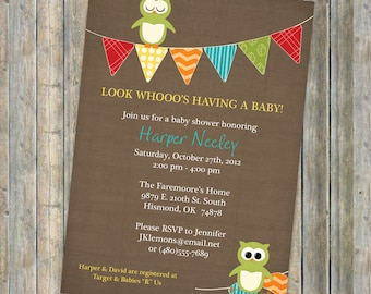 Banner shower invitation with owls, owl baby shower invitation, bright colors, Digital, Printable file