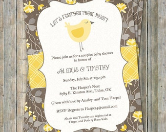 Bird baby shower invitations, Yellow and Neutrals, Digital, Printable file